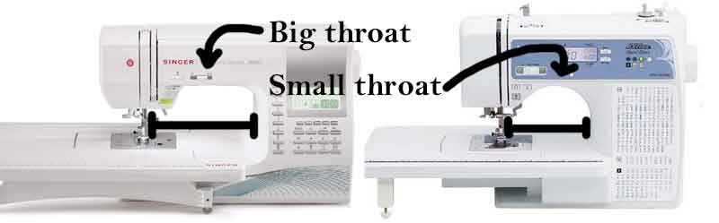 Throat size on the sewing machine